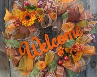Fall welcome wreath, welcome wreath, fall wreath, sunflower wreath, everyday wreath, fall door hanger, orange wreath