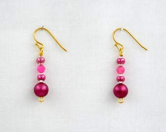 Earrings of Burgundy Crystal Pearl Beads, Facetted Pink Crystals and Pink Miyuki Seed Beads with a Gold Plated Earwires