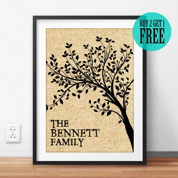 Personalized housewarming gift family sign family tree for Family tree gifts personalized