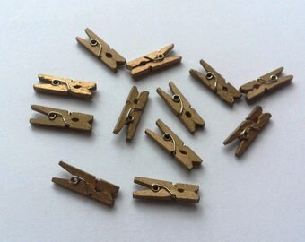 Lot of 10 mini clothespins gold wooden