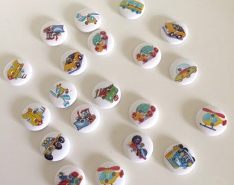 20 Vehicle Buttons ~ Transport Buttons ~ Wooden Buttons ~ Vehicle Embellishments ~ Card Making ~ Scrapbooking ~ Sewing