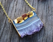 Amethyst Slice and Raw Turquoise Necklace, Amethyst Druzy Slice Necklace, Raw Turquoise Jewelry,  Statement Crystal Necklace, Stone Slice