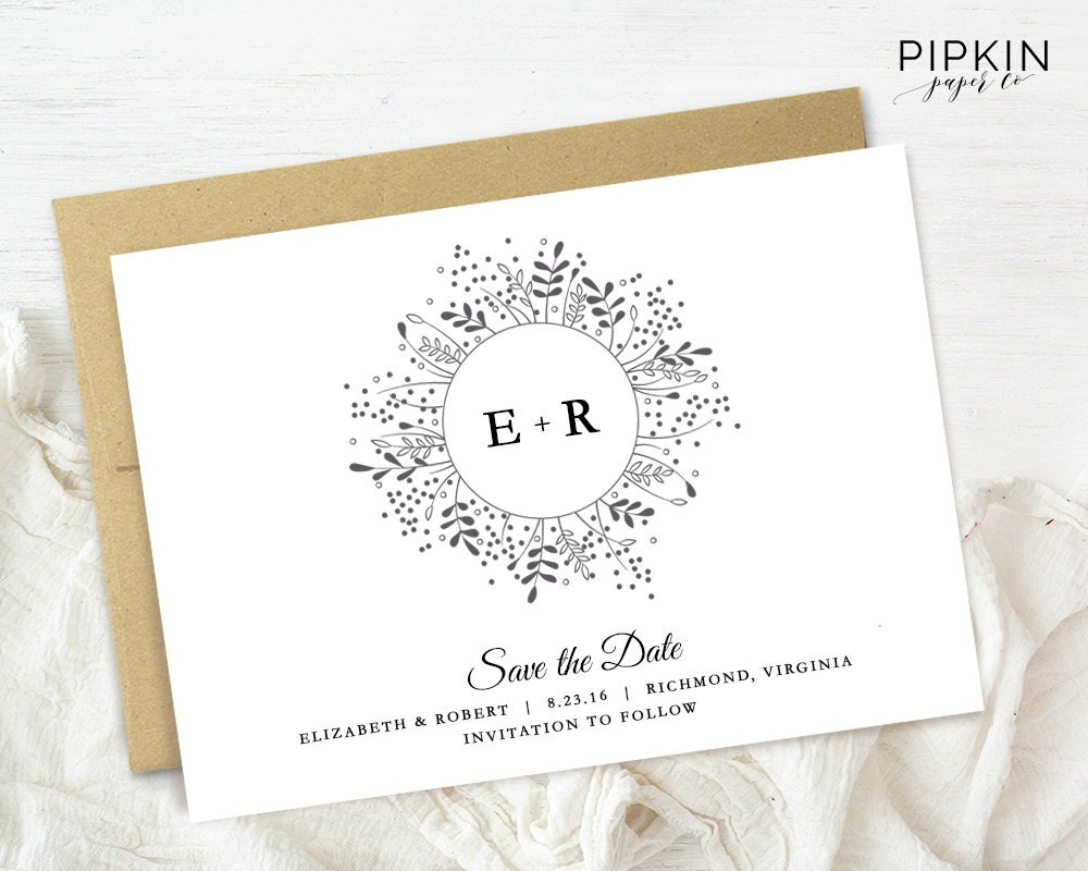 Save the date template digital download for word floral for Electronic save the date templates