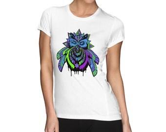 Bassnector owl shirt.  Digital printed womens shirt
