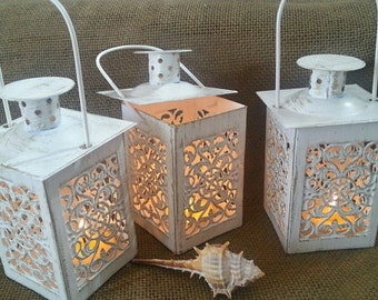 Set of 3 Moroccan Lantern, Lace Effect,outdoor decor,Wedding Centerpiece, Candle Lantern, Beach Wedding Decor, Wedding Lighting, Centerpiece