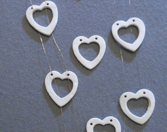 String of 12 Porcelain Hearts. Garlands for Weddings, Anniversary, Birthdays, Valentines, Celebrations. Thread flowers or -get creative.