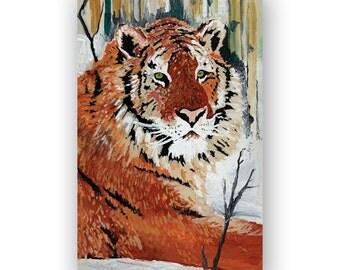 Big Cat Painting Print - Large Home Decor Wall Art Print of Acrylic Painting - Animal Wildlife Tigar Painting Print - Brown