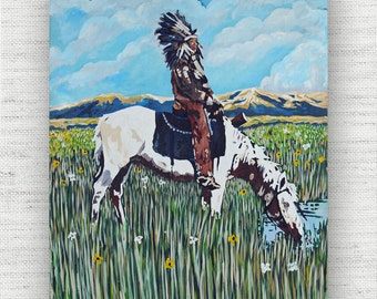 Western Painting Print Canvas Art from Indian Chief Fine Art Canvas Painting - Native American Art Print