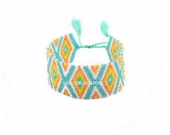 Japanese Pearl turquoise orange Cuff Bracelet
