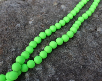 10mm Neon Green Rubberized Glass Beads, Rubberized Glass Beads, Neon Glass Beads, Neon Beads, Round Neon Beads
