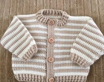 Crocheted baby boy sweater
