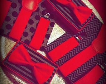 Valentines Suspender & Bow Tie Set Red