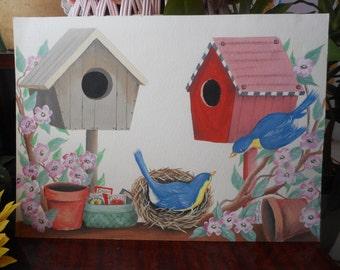 Potting Shed Birds Watercolor Painting, Birdhouse Garden Art