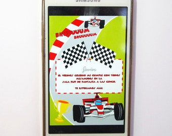 Digital invitation birthday Formula 1