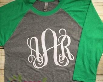 Monogram Raglan/Monogram Raglan Shirt/Monogram TShirt/Monogram Women's Shirt/Womens Monogram TShirt/Baseball Tshirt/Jersey Shirt/Tee