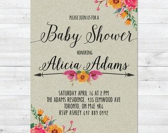 Baby Shower Invitation Girl, Girl Baby Shower Invitation, Rustic Baby Shower Invitation, Floral Baby Shower, Fall Baby Shower Inivitation