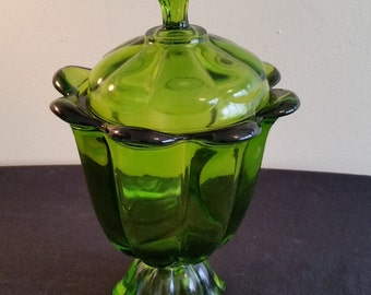 Green Panel Glass Candy  Dish