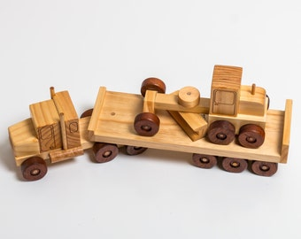 Toy Truck and Flat Trailer with Grader