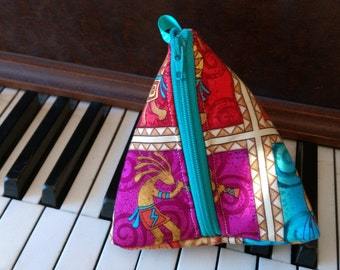 Southwest inspired Triangle zippered pouch