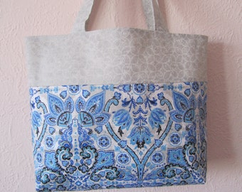 blue and grey tote bag