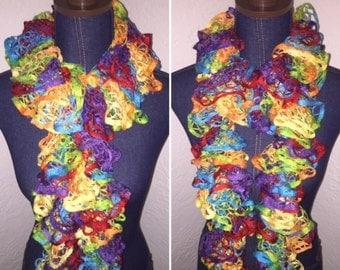 Handmade Crochet Ruffle Scarf - Fly A Kite