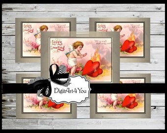 Greeting Card/Cards/Vintage/Valentine/Antique/Fire/Cute/Adorable/Heart/Love/Vintage/Collage/Blank Cards/Vintage Collage/Clip Art/Digital