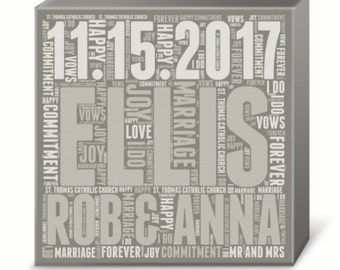 Personalized Wedding Subway Art Print (Canvas or Metal)