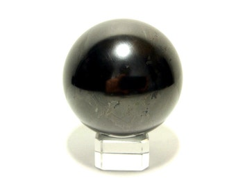 Shungite Schungit Polished Sphere 50mm Stone With Stand mineral crystal #