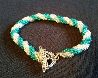 Teal Silverlined Seedbead and Clear Silver Lined Seedbead Double Spiral Bracelet with dragonfly clasp