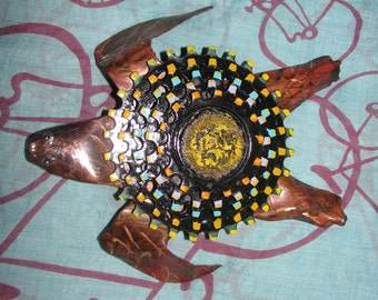 Sea turtle from copper and reCYCLED bike parts