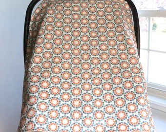 Gender neutral carseat canopy, orange car seat canopy, Car Seat Cover, Car Carrier Cover, Car Seat Canopy, car seat tent