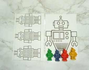 20 pk Kids Robot Coloring Favors