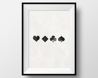 Playing Cards Art, Cards Art, Games Art, Hearts, Kings, Spades, Diamonds, Poker, Man Cave Art, Gambling, Playing Cards Poster