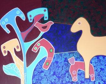 Cat, bird and horse