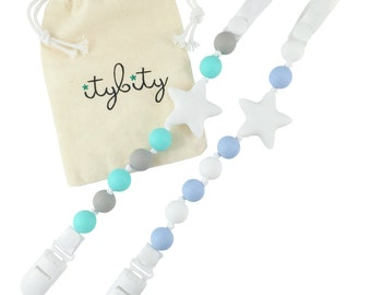 Twinkle Star Pacifier Clip for Boy 2 Pack