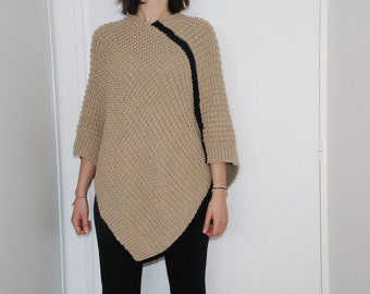 Poncho knitted woman hand