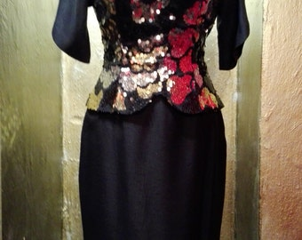 Vintage little black dress with sequin bustier and decolletage on the back