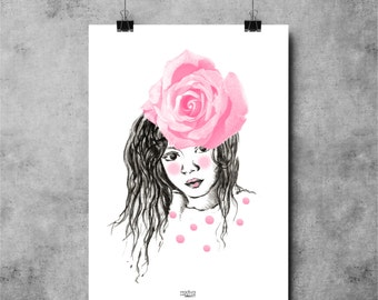 Poster GIRL WITH ROSE 30X40