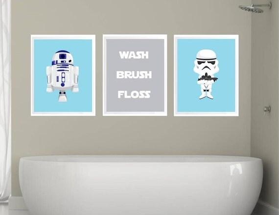 Stars wars bathroom decor bathroom rules wash brush for Star wars bathroom ideas