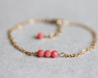 Pink Coral Bracelet Gold, Tiny Bracelet, Gem Bar, Minimalist Jewelry
