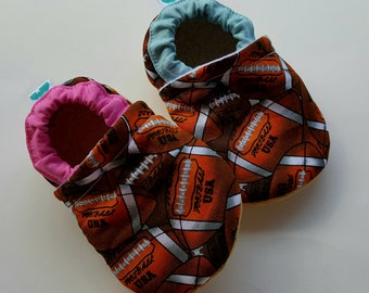 Football, blue, pink, Moccasins, baby crib shoes, soft sole