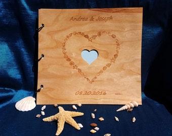 Photo Album Wood/Wedding Guest Book/Beach Wedding Guest Book/Beach Wedding Photo Album/Wood Gift Album/Shells & Seastars Heart Photo Album