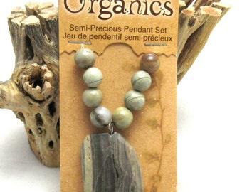 9 Pc Set Natural Jasper Semi Precious Bead/Pendant Set (B86k2)