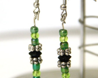 green and silver tone drop earrings