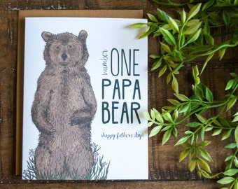 Bear Father's Day Card, Handmade Father's Day Card, Papa Bear Father's Day Card