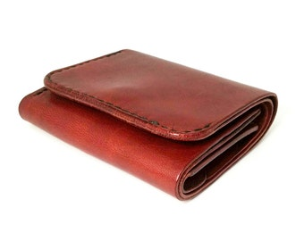 Dark Red Tri-fold Leather Wallet with Coins Bag, Wallet in Handmade, Leather Wallet