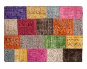 Yagmur: Multi Colour Patchwork Carpet Overdyed Handmade in Turkey Buy Online in All Sizes