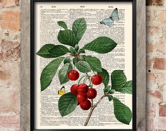 Cherries Wall Art, Fruit Print, Dictionary page print, Kitchen decor, Vintage book art print,  Home Wall Decor, Gift poster [ART 131]