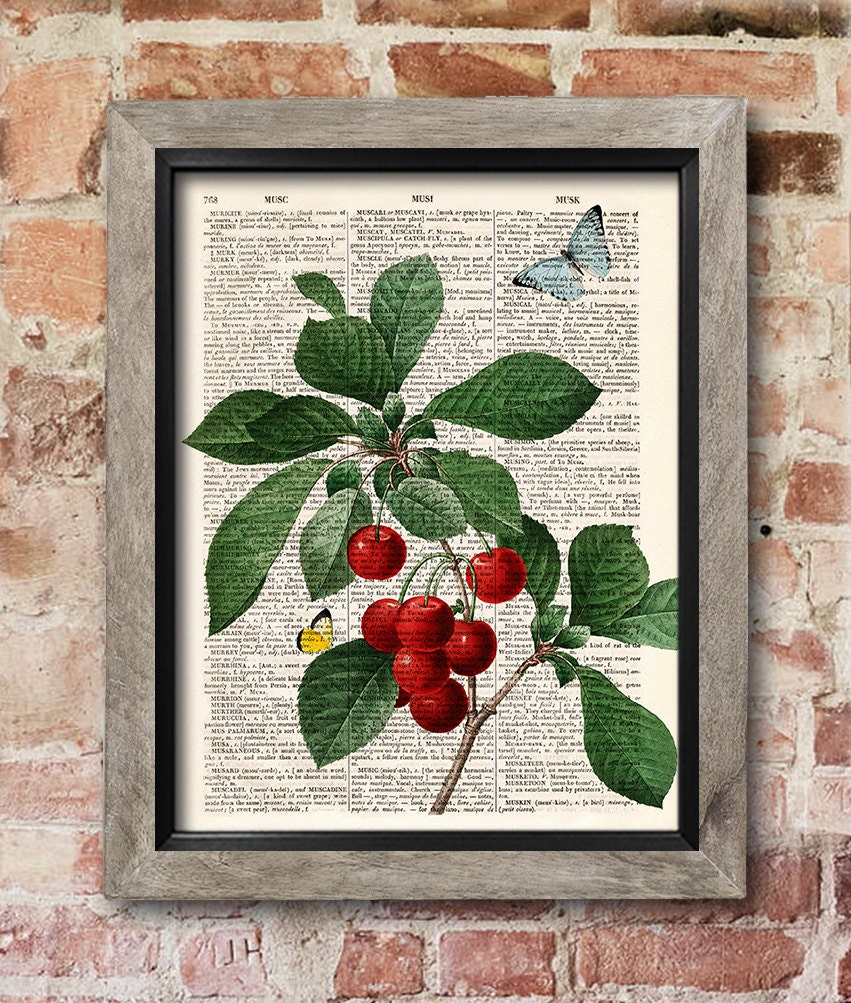 Cherries Wall Art Fruit Print Dictionary Page Print Kitchen