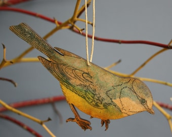 Blue Tit - Wooden Bird Hanging